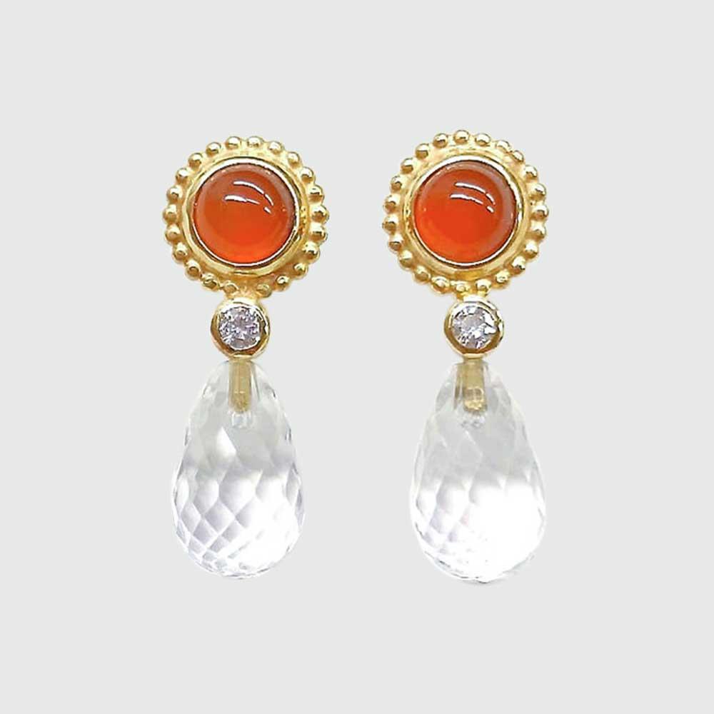 Orange Ohrringe mit gläsernen Anhängern von Thomas Pohl