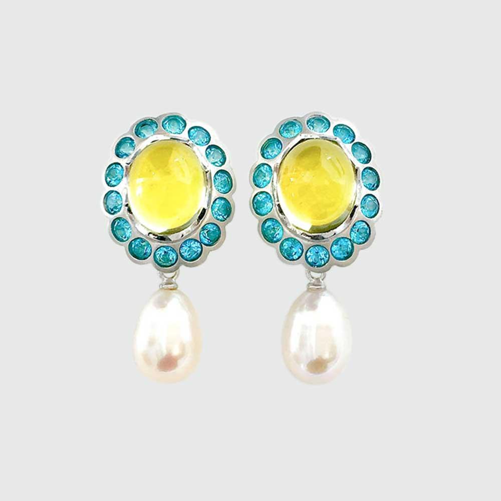 Blau gelbe Ohrringe mit Perlen von Thomas Pohl